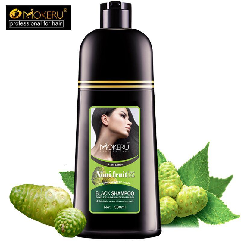 Mokeru Organic Natural Fast Hair Dye Only 5 Minutes Noni Plant Essence Black Hair Color Dye Shampoo For Cover Gray White Hair