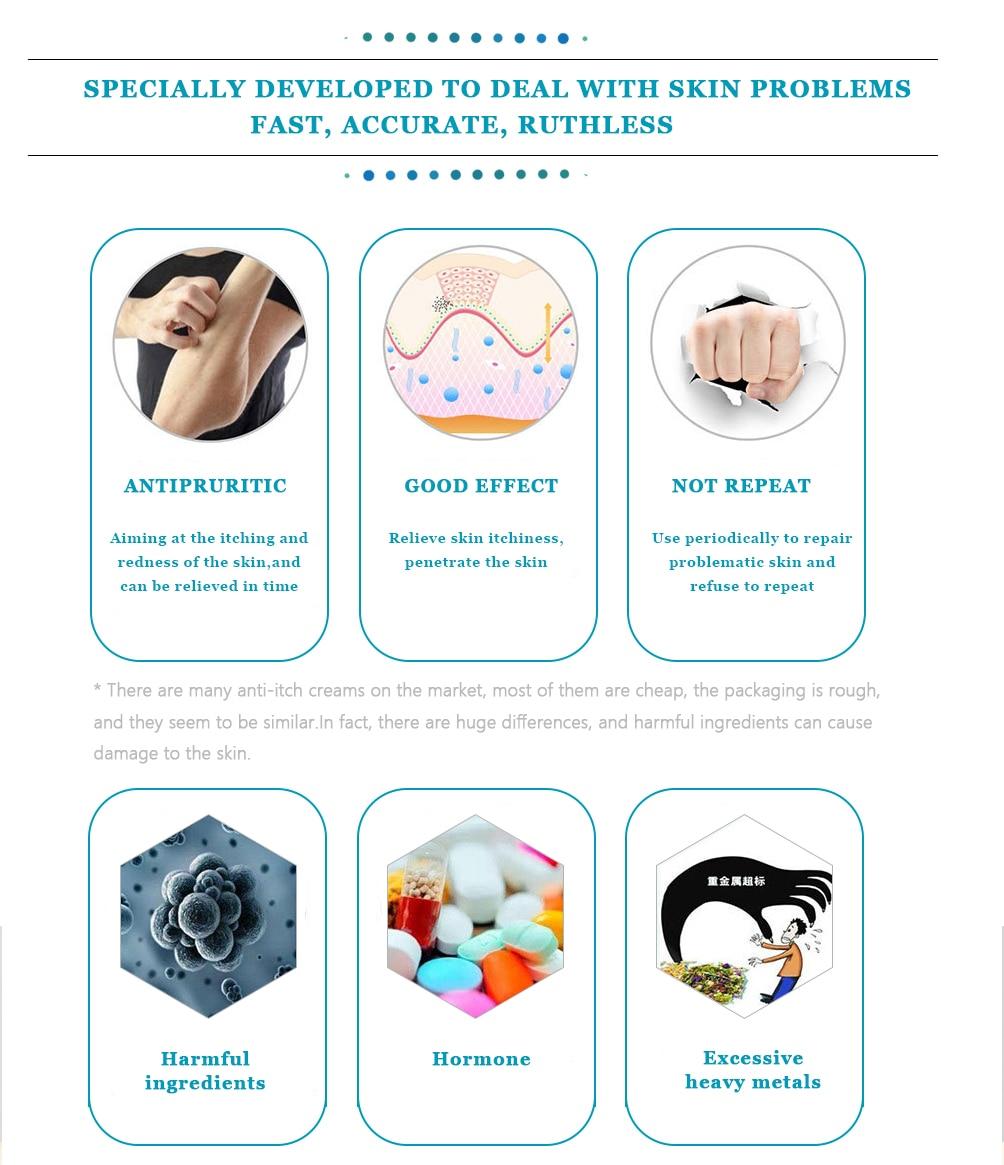 Yoxier Herbal Antibacterial Cream Psoriasis Cream Anti-itch Relief Eczema Skin Rash Urticaria Desquamation Treatment 20G