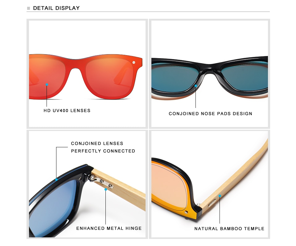KINGSEVEN Bamboo Polarized Sunglasses Men Wooden UV400 Sun glasses Women Brand Original Wood Glasses Oculos de sol masculino