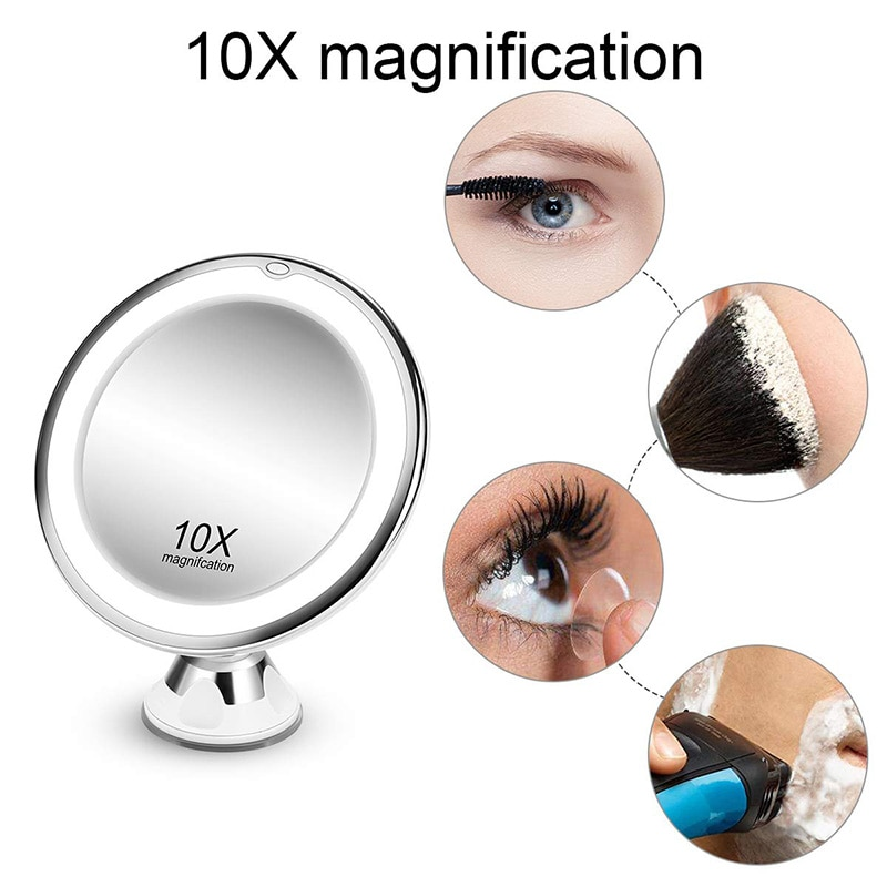 Flexible Makeup Mirror 10X Magnifying Mirrors LED Lighted Touch Screen Vanity Mirror Portable Dressing Table Cosmetic Mirrors