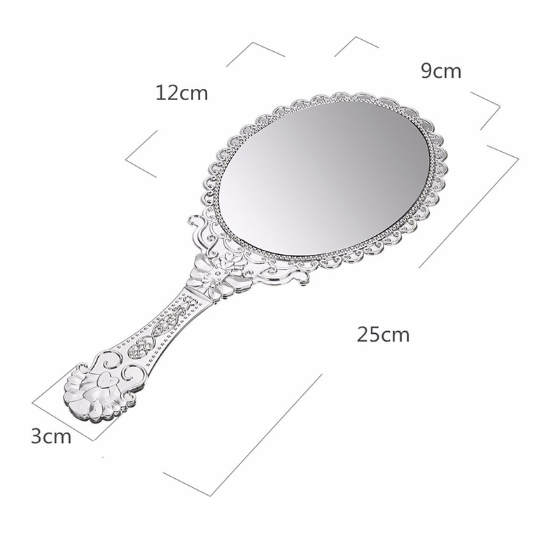 1Pcs Silver Vintage Mirror Ladies Floral Repousse Oval Round Makeup Hand Hold Mirror Princess Lady Makeup Beauty Dresser Gift