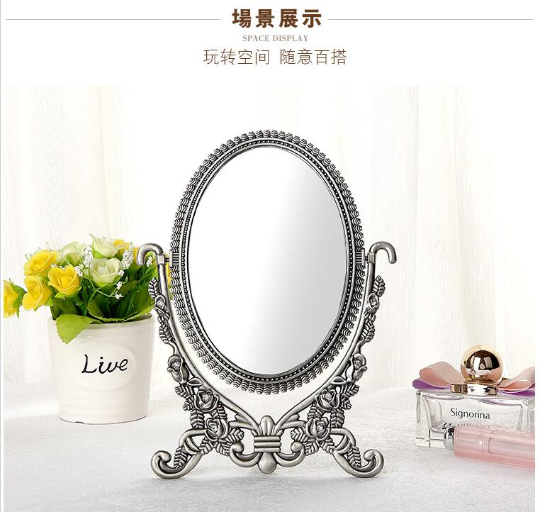 silver alloy metal table mirror makeup dresser desktop cosmetic decorative mirror embossed frameespelho de maquiagem 2191A
