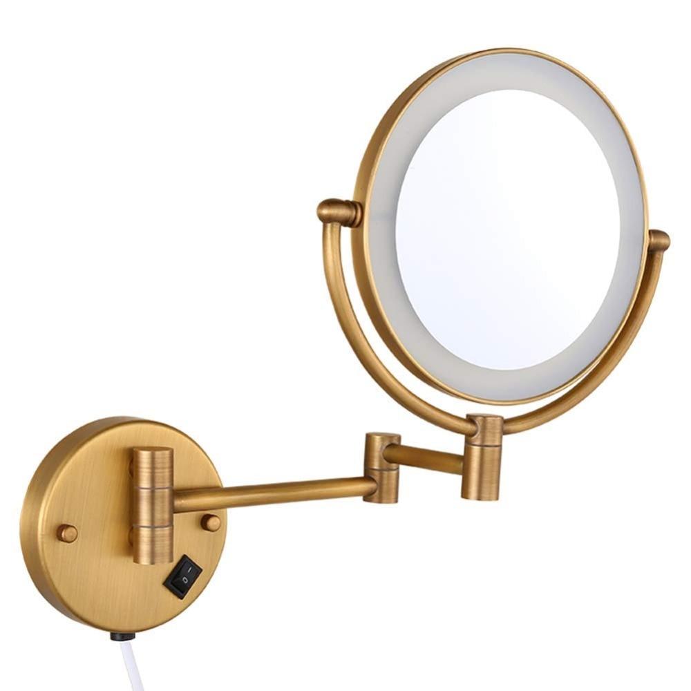 IMPEU Vintage Double Face Retro Bronze Alloy Metal Table Makeup Dresser Desktop Decorative Mirror Embossed Frame Makeup Tool