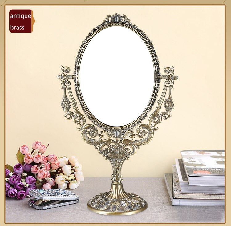 European Vintage Grape Branch with Flowers Design Antique Brass 6x8 Inches Double Sided Metal Table Decor Swing Cosmetic Mirror