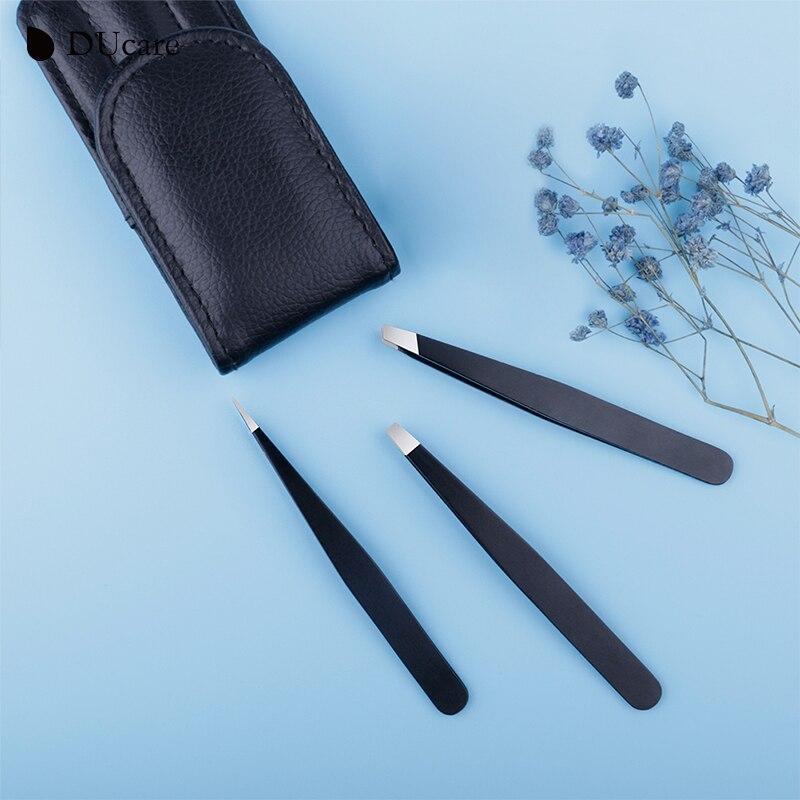 DUcare 3 PCS Eyebrow Tweezers Stainless Steel Hair Removal Makeup Tool Kit with Bag Point Tip/Slant Tip/Flat Tip pinzas pincet