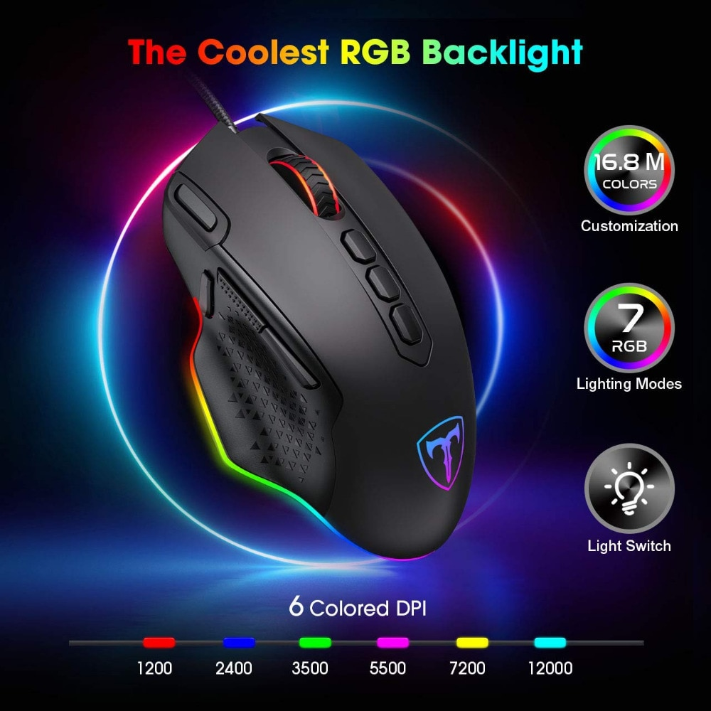 PICTEK 12000DPI Wired Gaming Mouse Gamer Ergonomic Mouse USB With RGB Backlit 10 Buttons For Windows Computer Mice