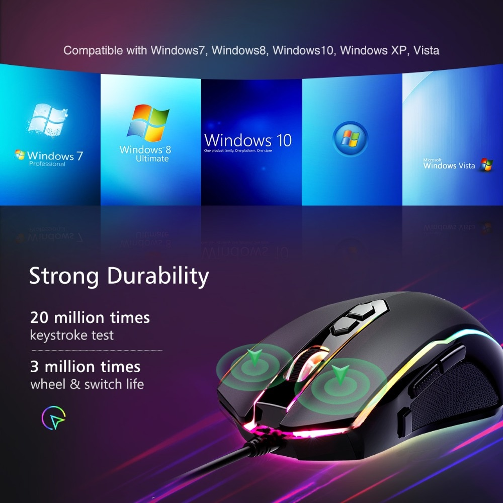 VicTsing 8 Programmable Buttons 7200 DPI Adjustable Optical Gaming Mouse Ergonomic Mouse With Wired RGB Gaming Mouse