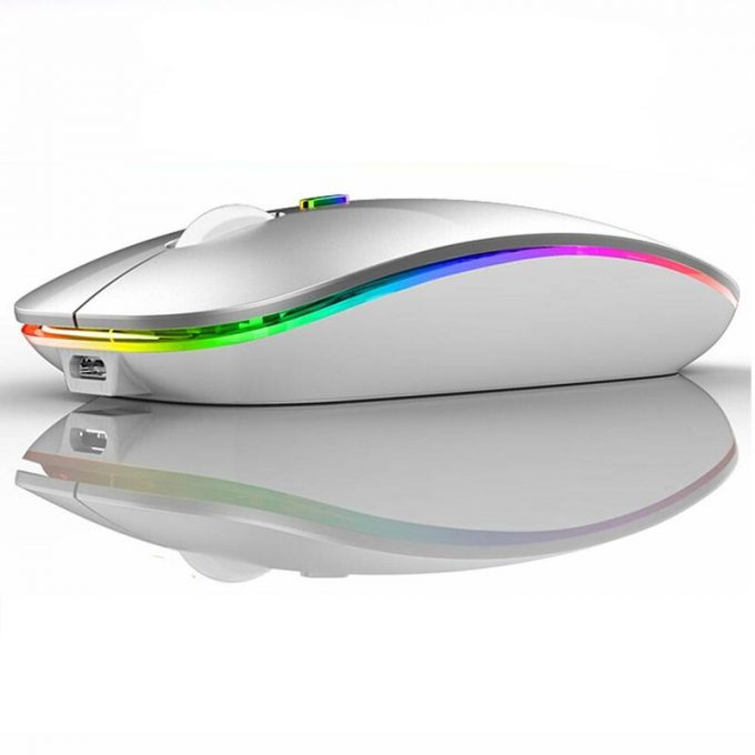 Wireless Mouse Rechargeable 2.4GHz and Bluetooth 5.1 Colorful Backlight Computer Mice 3 Adjustable DPI Levels Mouse for Laptop